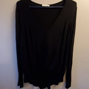 L Lush cross front lightweight black blouse